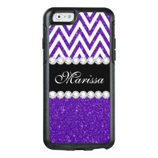 Dark Purple Glitter Sparkles White Chevron Pattern OtterBox iPhone 6/6s Case