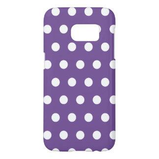 Dark Purple Lavender And White Polka Dots Pattern