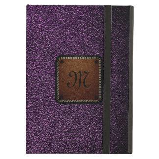 Dark purple leather look brown tag iPad air case