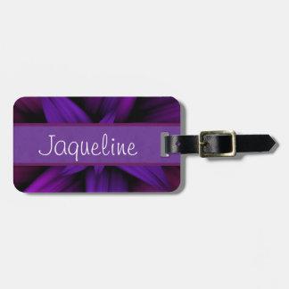 Dark Purple Magenta Bloom Luggage Tag