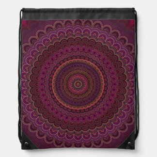 Dark purple mandala drawstring bag