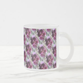 Dark Purple Moth Orchids Frosted Glass Coffee Mug