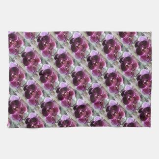 Dark Purple Moth Orchids Tea Towel
