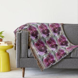 Dark Purple Moth Orchids Throw Blanket