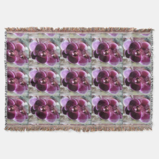 Dark Purple Moth Orchids Throw Blanket