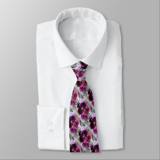 Dark Purple Moth Orchids Tie