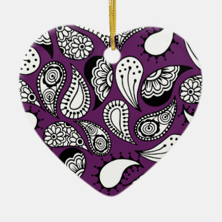 Dark Purple Paisley Ceramic Ornament