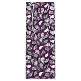 Dark Purple Paisley Wine Gift Bag