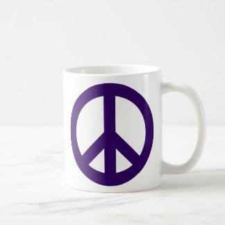 Dark Purple Peace Symbol Classic White Coffee Mug