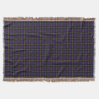 dark purple plaid print, black yellow stripe throw blanket