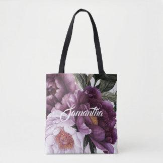 Dark Purple Plum Pink Peonies Greenery   Tote Bag