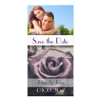 "Dark Purple Rose /photo  ""Save the Date"" Photo Card Template"