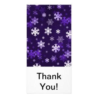 Dark Purple Snowflakes Custom Photo Card