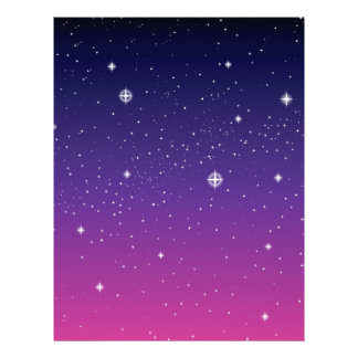 Dark Purple Starry Night Sky 21.5 Cm X 28 Cm Flyer