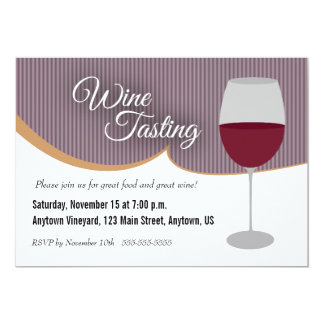 Dark Purple Stripes Wine Tasting Party 13 Cm X 18 Cm Invitation Card