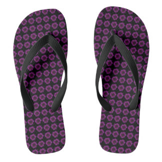 Dark Purple Sunflower Motif on Thongs