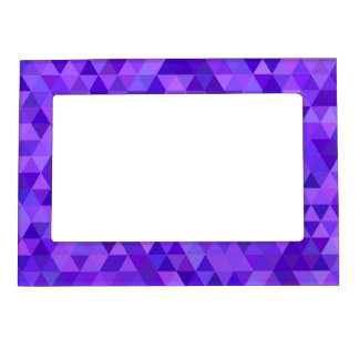 Dark purple triangle pattern photo frame magnets