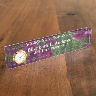Dark Purple Verbena Desk Nameplate