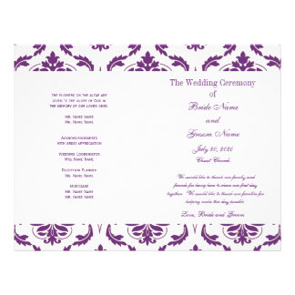 Dark Purple Vintage Damask Wedding Program 21.5 Cm X 28 Cm Flyer