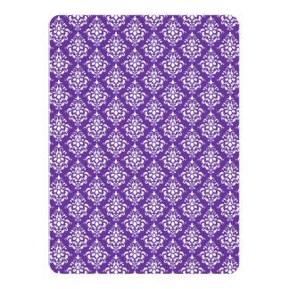 Dark Purple White Vintage Damask Pattern 1 Announcement