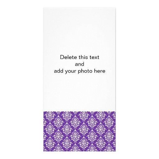 Dark Purple White Vintage Damask Pattern Personalized Photo Card