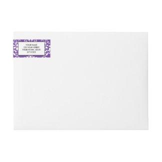 Dark Purple White Vintage Damask Pattern Wraparound Return Address Label