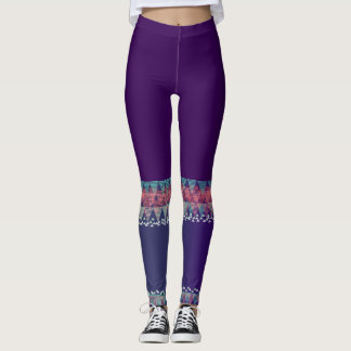 Dark Purple with Aztec Design>Colourful Leggings