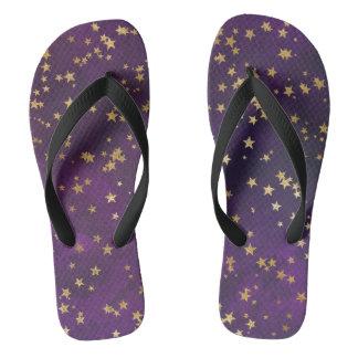 Dark Purple With Gold Stars Thongs