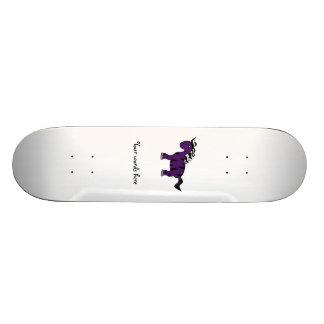 Dark purple zebra custom skate board
