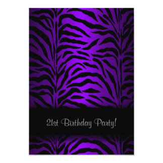 Dark Purple Zebra Womans 21st Birthday Party 13 Cm X 18 Cm Invitation Card