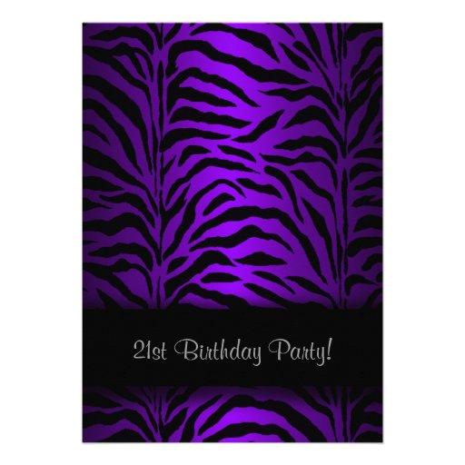 Dark Purple Zebra Womans 21st Birthday Party Custom Invites