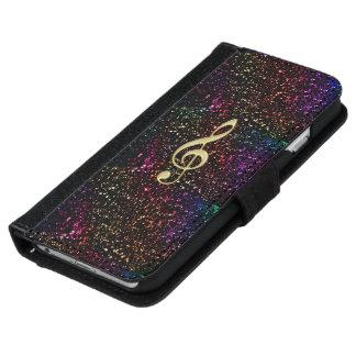 Dark Rainbow Glitter Music Clef iPhone Wallet Case