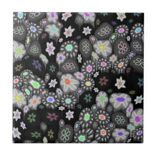 Dark Rainbow Millefiori Small Square Tile