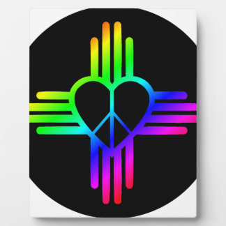 Dark Rainbow Zia Peace Plaque