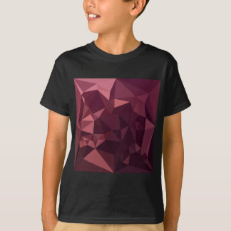 Dark Raspberry Red Abstract Low Polygon Background T-Shirt