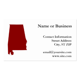 Dark Red Alabama Shape Pack Of Standard Business Cards