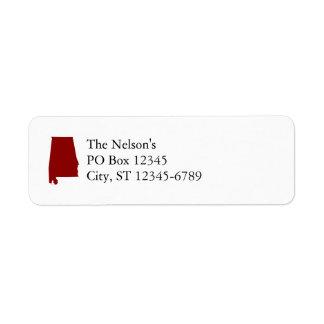 Dark Red Alabama Shape Return Address Label
