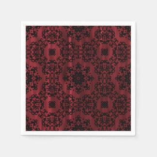 Dark red and black gothic grunge geometric disposable serviette