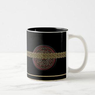 Dark Red and Black Metallic Celtic Knot Mug