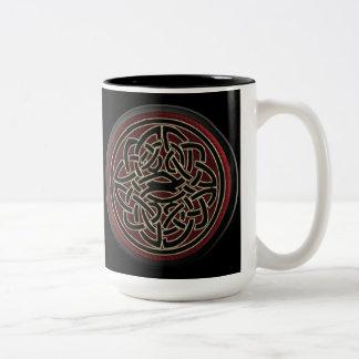 Dark Red and Black Metallic Celtic Knot Coffee Mugs