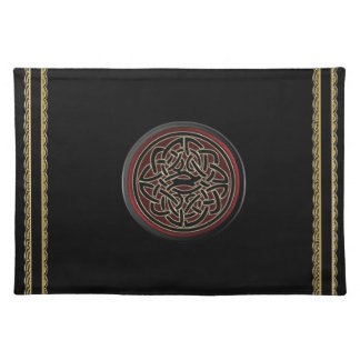 Dark Red and Black Metallic Celtic Knot Placemat Cloth Place Mat