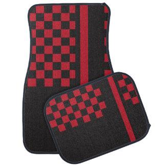 Dark Red and Black Racing Stripe | Monogrammed Floor Mat