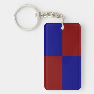 Dark Red and Blue Rectangles Key Ring