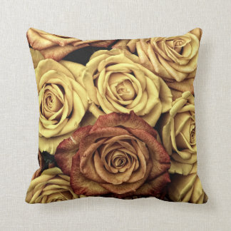 Dark Red and Cream Roses Pillow Cushion