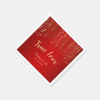 Dark Red and Gold Confetti Dots Paper Napkin