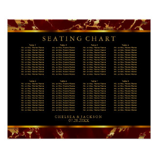 Dark Red and Gold Marble - Seating Chart Poster