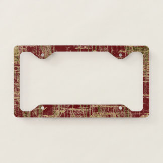 Dark Red and Gold Modern Art Licence Plate Frame