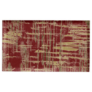 Dark Red and Gold Modern Art Table Card Holders