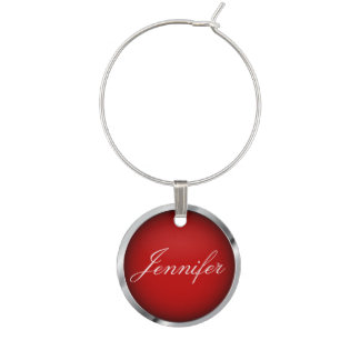 Dark Red and Metallic Chrome Trim | Personalize Wine Charm