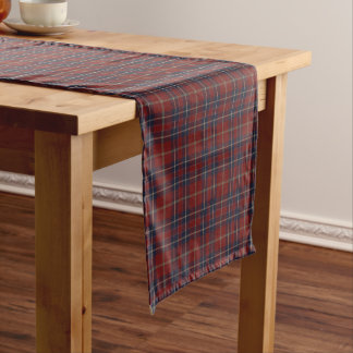 Dark Red and Navy Blue Rustic Plaid Short Table Runner